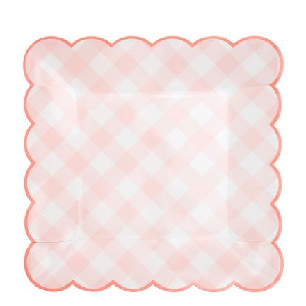 Pink Gingham Paper Plates - Large
